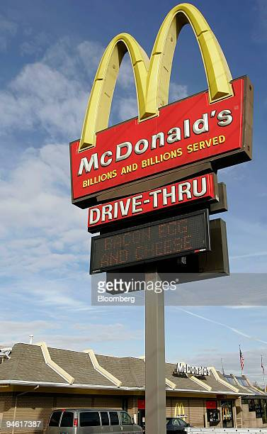 The McDonalds sign stands outside of the restaurant in Lehi Utah Thursday October 19 2006 McDonald's Corp the world's largest restaurant company said...