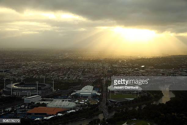 The MCG tennis centre and AMMI Park are seen at sunrise from the Eureka Skydeck on February 4 2016 in Melbourne Australia