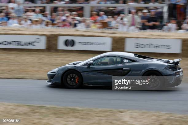 The McLaren 600LT supercar manufactured by McLaren Automotive Ltd performs a demonstration lap during its launch at the Goodwood Festival of Speed...