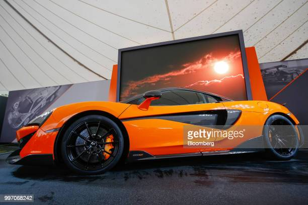 The McLaren 600LT supercar manufactured by McLaren Automotive Ltd stands on display during its launch at the Goodwood Festival of Speed near...
