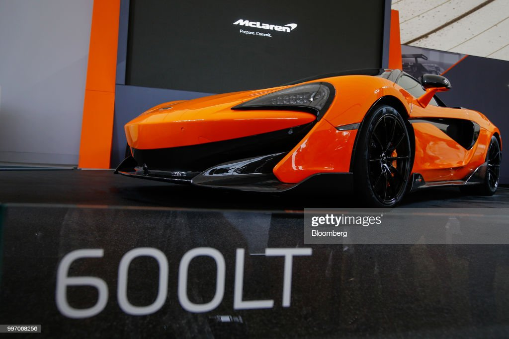 The McLaren 600LT supercar, manufactured by McLaren Automotive Ltd., stands on display during its launch at the Goodwood Festival of Speed near Chichester, U.K., on Thursday, July 12, 2018. Formula 1 race team and supercar maker McLaren is aiming to win over wealthy drivers keen to prove themselves on the track with its latest model -- the 185,500-pound ($250,000) circuit-ready 600LT. Photographer: Luke MacGregor/Bloomberg via Getty Images