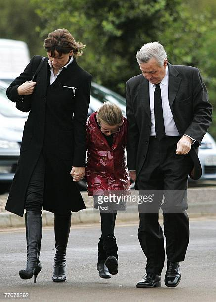 The McRae family Alison with daughter Hollie and Jimmy arrive at the funeral of former quad bike champion Graeme Duncan on September 28 2007 in...