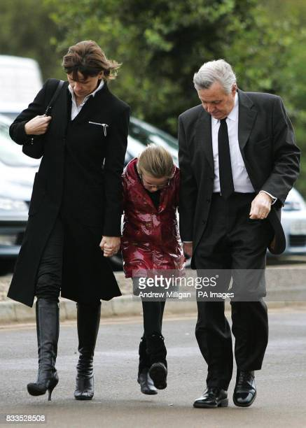 The McRae family Alison with daughter Hollie and Jimmy , at the funeral of former quad bike champion, Graeme Duncan who died in the helicopter crash...
