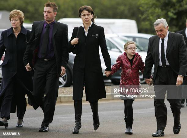 The McRae family Margaret , Stuart Alison with daughter Hollie and Jimmy , arrive at the funeral of former quad bike champion, Graeme Duncan who died...