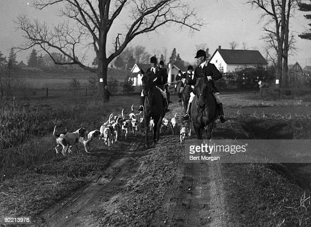 The Meadowbrook Hunt Club commences another run after the hounds New York 1934 Pictured is a view of the start