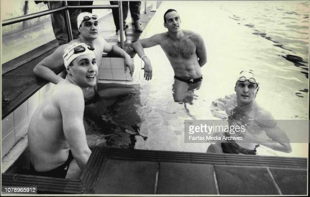 The Mean Machine at North Sydney's Olympic Swimming Pool Milson Point for a Demonstration SwimL to R Mathew Renshaw Greg Fasala Mark Stockwell Neil...
