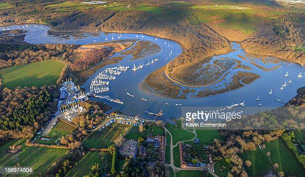 The meandering River Beaulieu at Bucklers Hard in Hampshire.