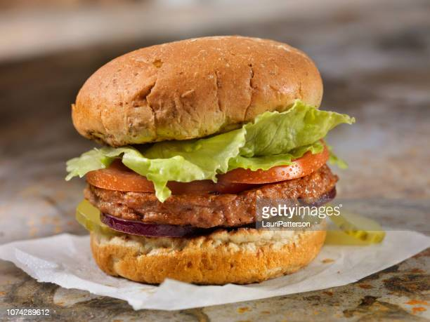 the meatless burger - 100% plant based protein burger - gluten free bread stock pictures, royalty-free photos & images
