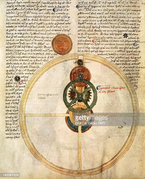 The mechanism of a clock miniature from the clock treatise Il Tractatus Astarii by Giovanni de Dondi manuscript Italy 13th Century