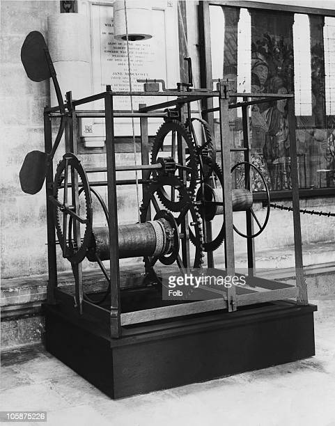 The mechanism of the Salisbury Cathedral clock in the north aisle of Salisbury Cathedral Wiltshire shortly after its restoration 18th July 1956...