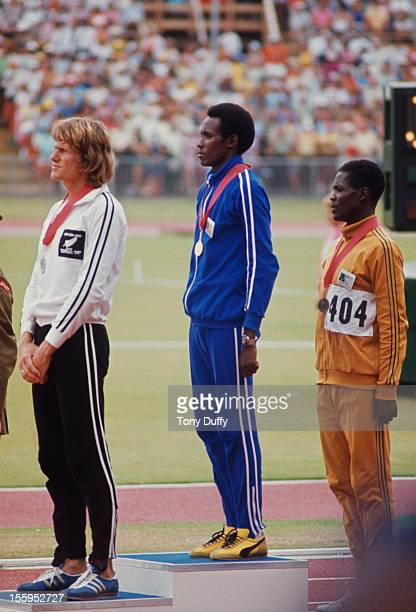 The medal ceremony for the Men's 1500 Metres during the Commonwealth Games in Christchurch New Zealand 1974 Tanzanian athlete Filbert Bayi took gold...