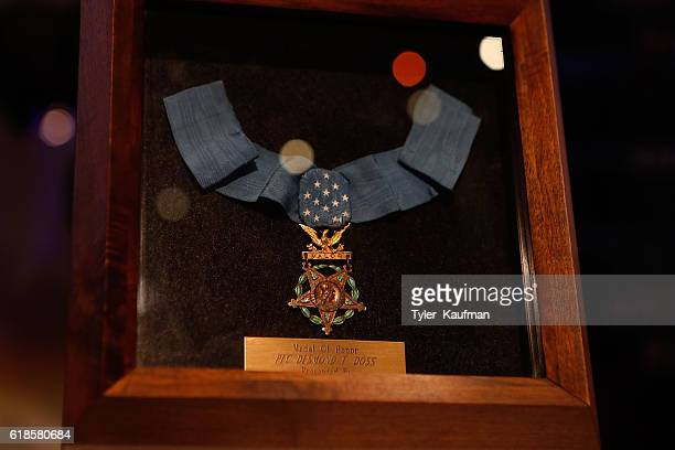 The Medal Of Honor belonging to Desmond T Doss is seen at the Hacksaw Ridge special screening at the National World War II Museum on October 26 2016...