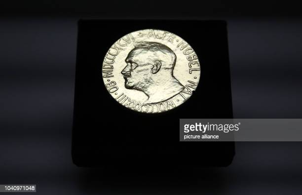 The medal of the Nobel Peace Prize that was awarded to the European Union in 2012 and is now exhibited for the first time can be seen at the...
