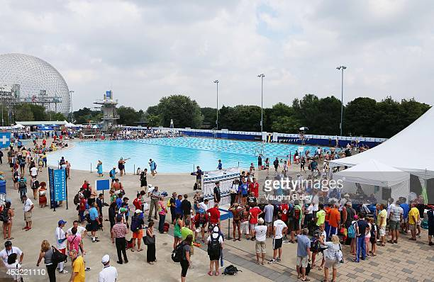 The medal podium at Parc JeanDrapeau during the 15th FINA World Masters Championships on August 05 2014 in Montreal Canada