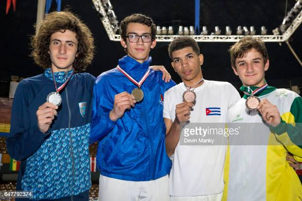 The Medal Podium for the Cadet Men's Epee competition at the Cadet and Junior PanAmerican Fencing Championships on March 3 2017 at the Coliseo de la...