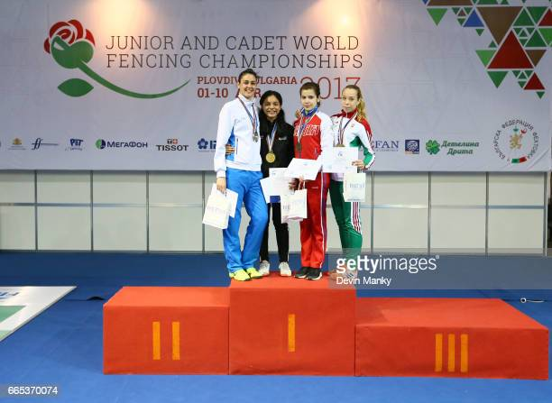 The medal podium for the Junior Women's Sabre Event at the Junior and Cadet World Fencing Championships on April 6th 2017 at the Plovdiv...