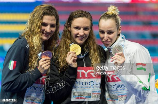COPENHAGEN DENMARK The medal winners from the Women's 200m Medley Final Ilaria Cusinato from Italy Katinka Hosszu and Evelyn Verraszto from Hungry on...