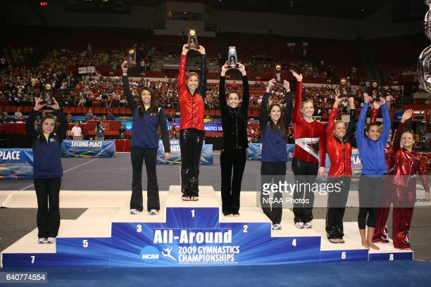The medalists in the allaround competition pose on the podium during the Division I Women's Gymnastics Championship held at the Bob Devaney Sports...