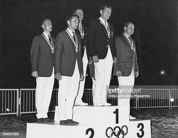The medalists in the Flying Dutchman class yachting event on the podium at the Olympic Games Enoshima Japan 21st October 1964 The gold medalists are...