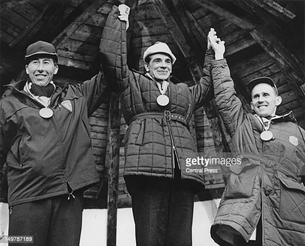 The medalists in the Men's 15 km crosscountry skiing event at the Winter Olympics in Innsbruck Austria 2nd February 1964 Left to right Harald...