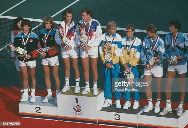 The medalists in the tennis Men's Doubles on the podium at the Olympic Games in Seoul South Korea 30th September 1988 Left to right silver medalists...