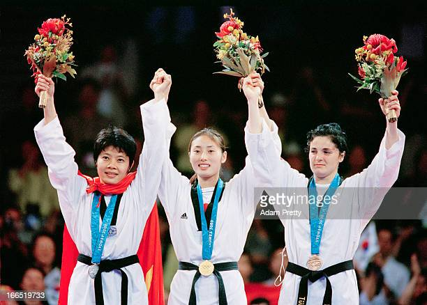 The medalists in the women's 57 kg Taekwondo event at the State Sports Centre during the Olympic Games in Sydney 28th September 2000 Left to right...