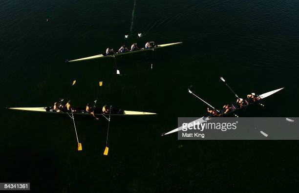 The medallists in the Men's coxless four final Great Britain Australia and New Zealand wait for the medal ceremony during day five of the Australian...