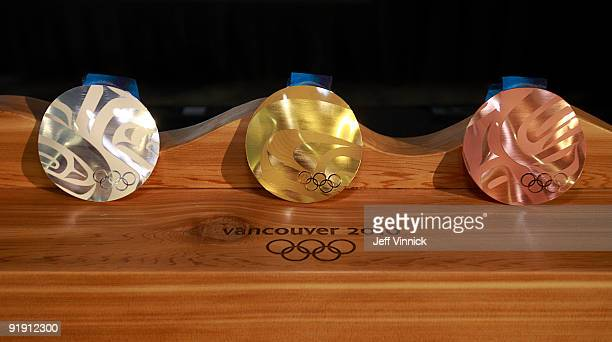 The medals for the 2010 Olympic Winter Games are displayed following their unveiling October 15 2009 in Vancouver British Columbia Canada