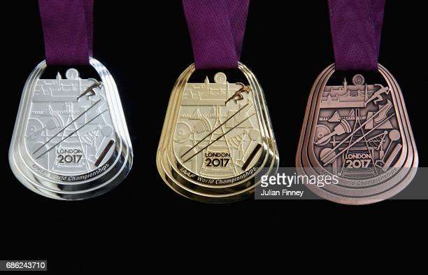 The medals for the IAAF World Athletics Championships are seen during a photo call at the Old Royal Naval College on May 18 2017 in Greenwich England