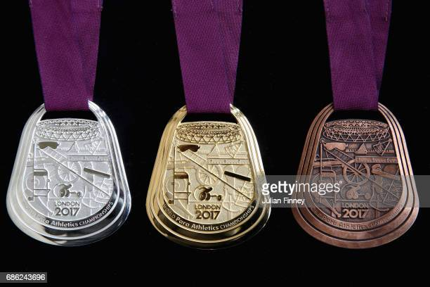 The medals for the World Para Athletics Championships are seen during a photo call at the Old Royal Naval College on May 18 2017 in Greenwich England