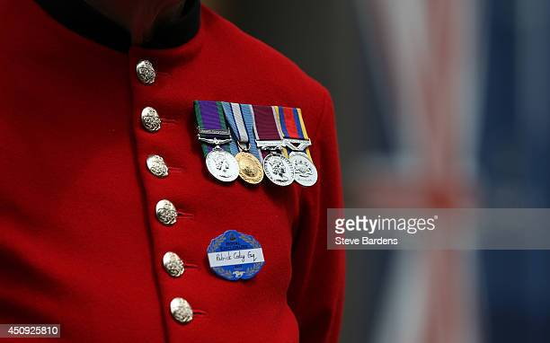 The Medals of a chelsea pensioner on day four of Royal Ascot at Ascot Racecourse on June 20, 2014 in Ascot, England.