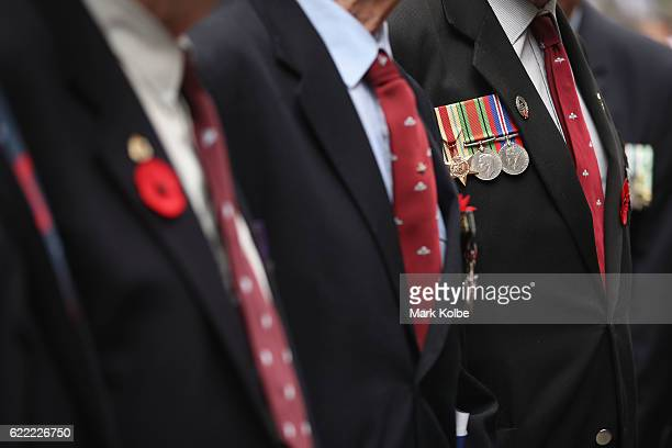 The medals of a veteran are seen as he poses for a photograph during the Remembrance Day Service held at the Cenotaph Martin Place on November 11...