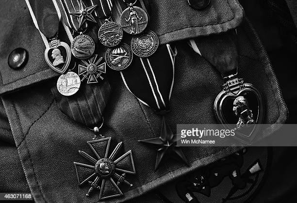 The medals of George Shenkle a 93yearold World War II veteran with the 82nd Airborne Division are shown during a ceremony honoring those who fought...