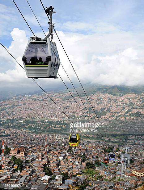 The Medellin aerial tramway is seen on November 18 over a low income neighborhood in Medellin Antioquia department Colombia The Bolivian government...