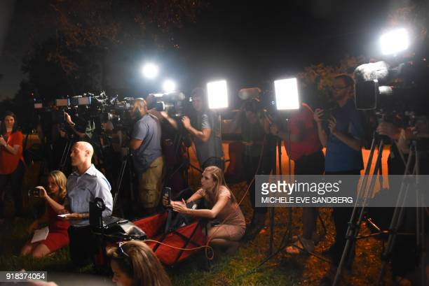 The media attends a briefing at the Broward Health North Hospital where victims of a shooting at Marjory Stoneman Douglas High School were treated...
