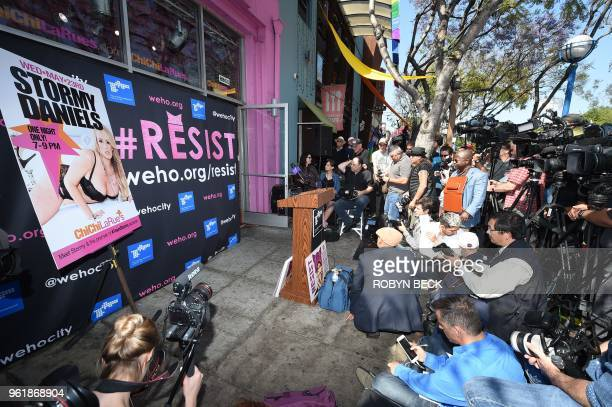 The media awaits the start of a ceremony where adult film star Stormy Daniels was presented with a key to the city of West Hollywood by Mayor John...