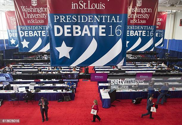 The media center is seen prior to the second presidential debate between US Democratic Presidential nominee Hillary Clinton and her Republican...