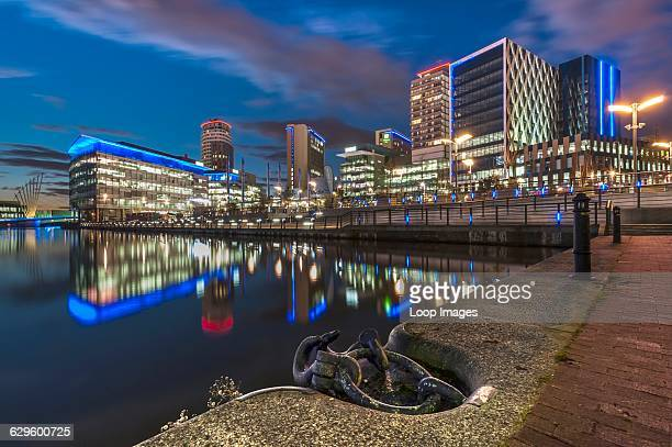 The Media City at night Salford Quays England