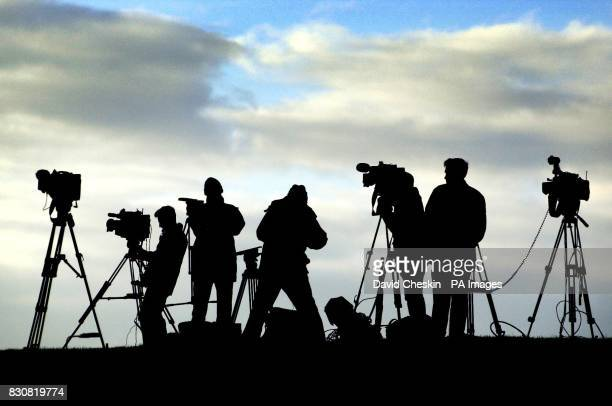 The media gather to overlook Barlinnie prison in Glasgow which is ready to take charge of Adbel Baset Ali Mohamed Al Megrahi the terrorist who blew...