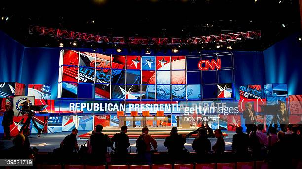 The media gets a tour of the debate hall before the Republican presidential candidates' debate on February 22 2012 in Mesa Arizona The candidates...