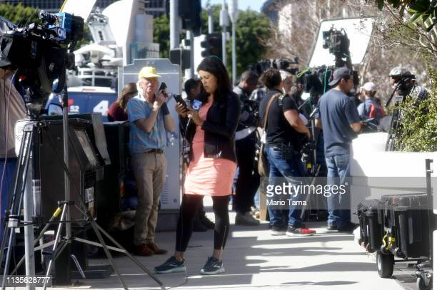 The media is seen outside the Edward R Roybal Federal Building and United States Courthouse on March 13 2019 in Los Angeles California Actors...