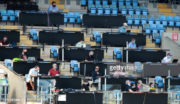 The media look on observing social distancing due to COVID19 during the Gallagher Premiership Rugby match between Wasps and Bristol Bears at the...