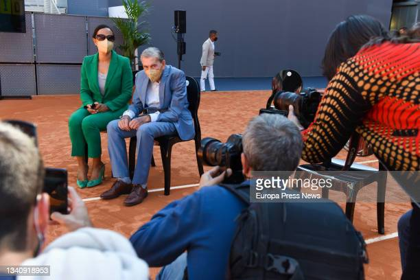The media photograph the tennis player Manolo Lama during the signing ceremony for the renewal of the agreement to hold the Mutua Madrid Open tennis...