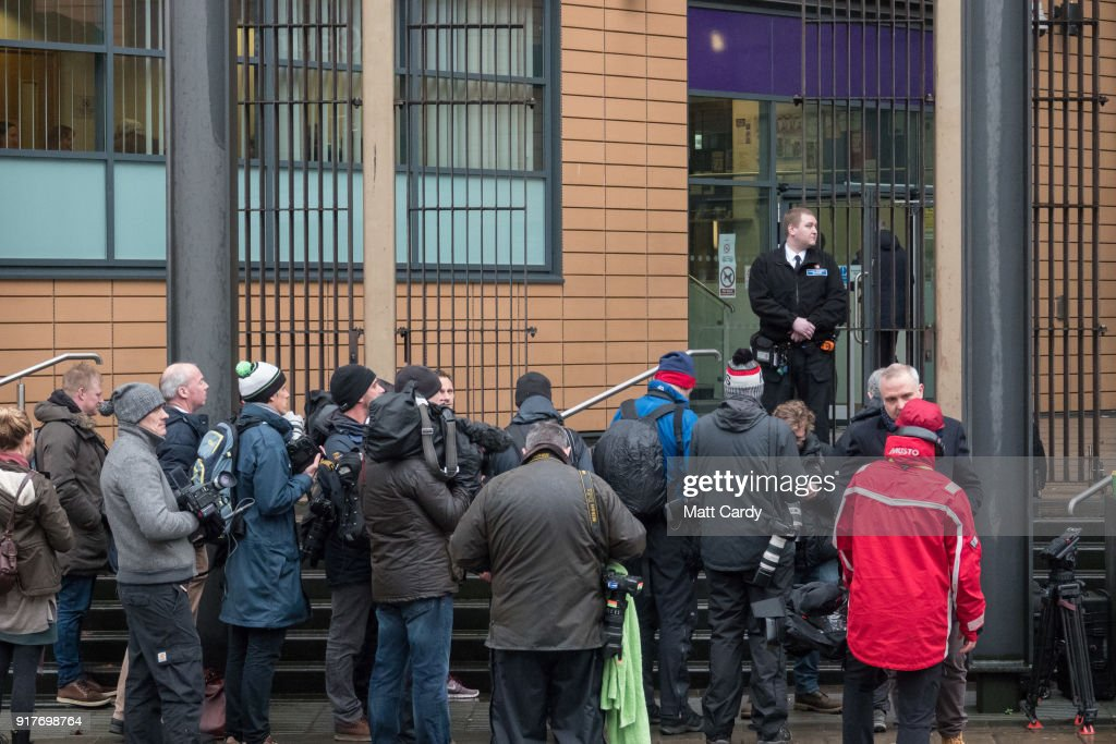 The media wait for England Cricketer Ben Stokes to leave Bristol Magistrate's Court on February 13, 2018 in Bristol, England. The 26-year-old all-rounder, who was charged with affray in January over an incident outside a Bristol night club late last year, has not played for England since being arrested in September and is hoping today to be given permission to fly to New Zealand to resume playing international cricket.