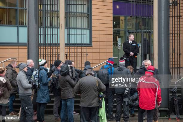 The media wait for England Cricketer Ben Stokes to leave Bristol Magistrate's Court on February 13 2018 in Bristol England The 26yearold allrounder...