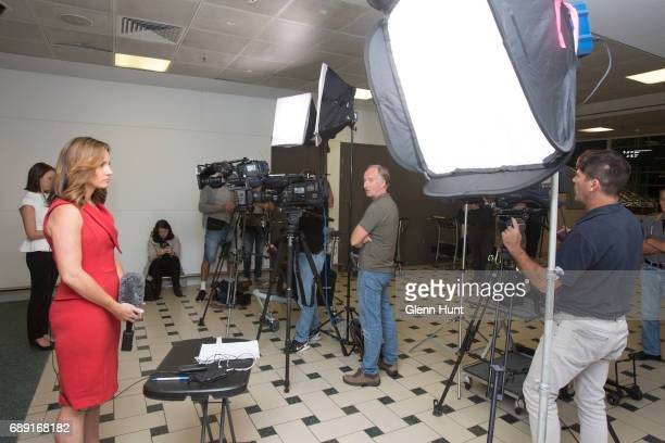 The media waits for the arrival for Schapelle Corby at Brisbane International Airport on May 28 2017 in Brisbane Australia Corby was arrested in 2004...