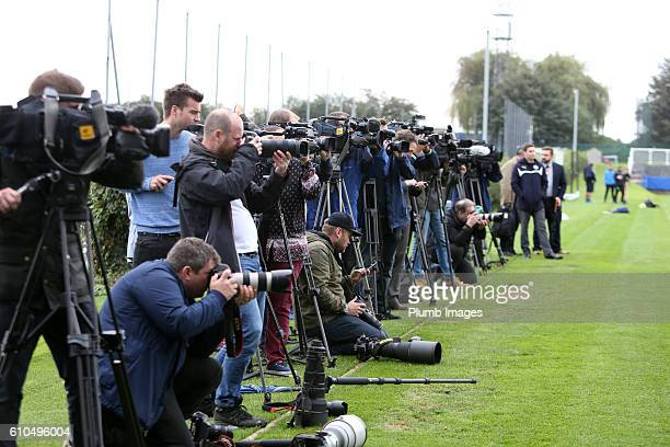 The media watch training during the Leicester City training session at Belvoir Drive Training Facility on September 26 2016 in Leicester United...