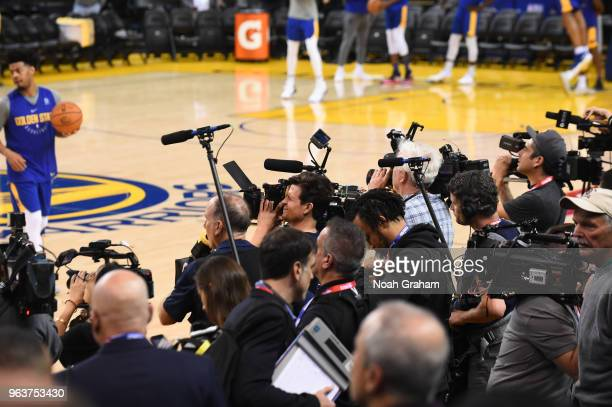 The media watches during practice as part of the 2018 NBA Finals on MAY 30 2018 at ORACLE Arena in Oakland California NOTE TO USER User expressly...