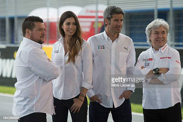 The Mediaset journalists Mela Chercoles of Spain Melissa Jimenez of Spain Nico Abad of Spain and Angel Nieto of Spain pose during the Mediaset Espana...