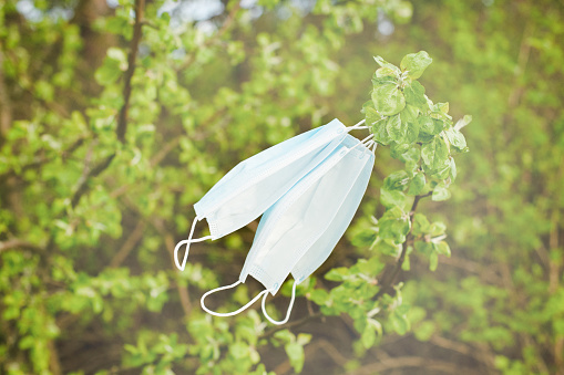The medical mask develops freely in the wind on a tree in nature. No virus. 1266556647